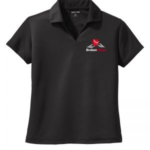 Black women's performance polo shirt with BrokenWings logo