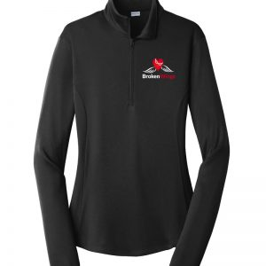 Black women's performance 1/4 zip pullover with BrokenWings logo