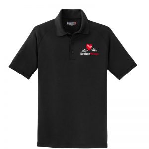 Black men's performance polo shirt with BrokenWings logo