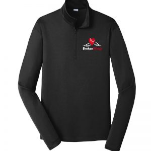 Black men's performance 1/4 zip pullover with BrokenWings logo