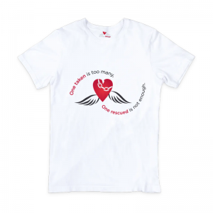 Adult 100% cotton white t-shirt with Broken Wings slogan and icon on front
